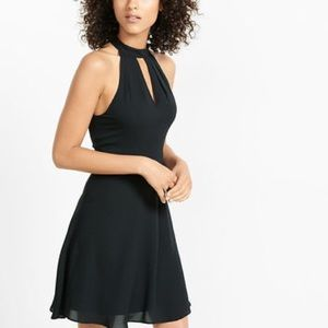Mock neck keyhole fit and flare dress